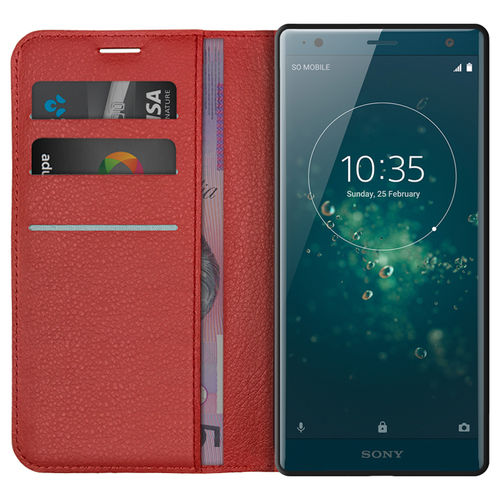 Leather Wallet Case & Card Holder Pouch for Sony Xperia XZ2 - Red